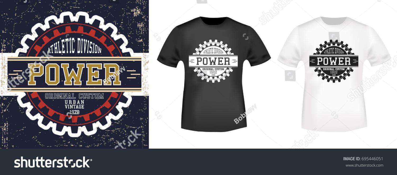 9998e1095 T-shirt print design. Vintage stamp and t shirt mockup. Printing and badge