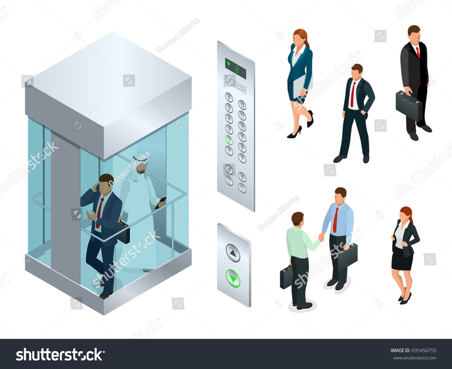 people inside elevator. isometric vector design of the elevator with people inside and button panel. realistic empty c