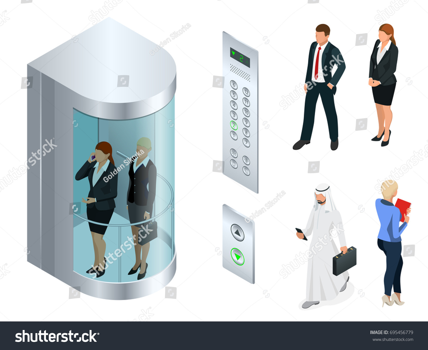 people inside elevator. isometric vector design of the elevator with people inside and button panel. realistic empty