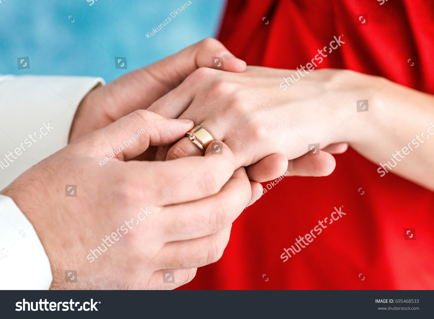 Close Shoot Grooms Hand Putting Wedding Stock Photo (Edit Now ...