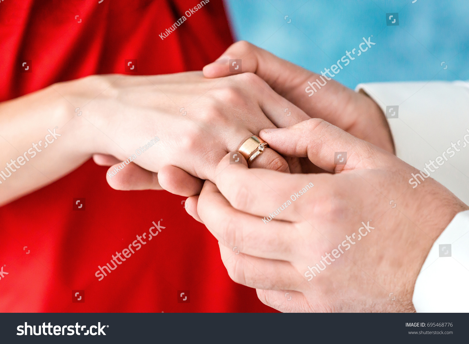 Close Shoot Grooms Hand Putting Wedding Stock Photo 695468776 ...