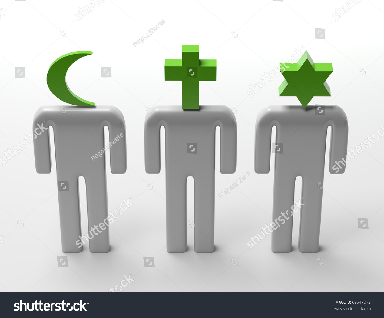 Three Dimensional Shape Main Religious Symbols Stock Illustration