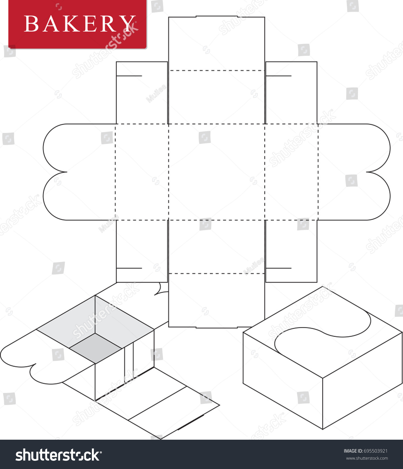 package bakery vector illustration box package template isolated