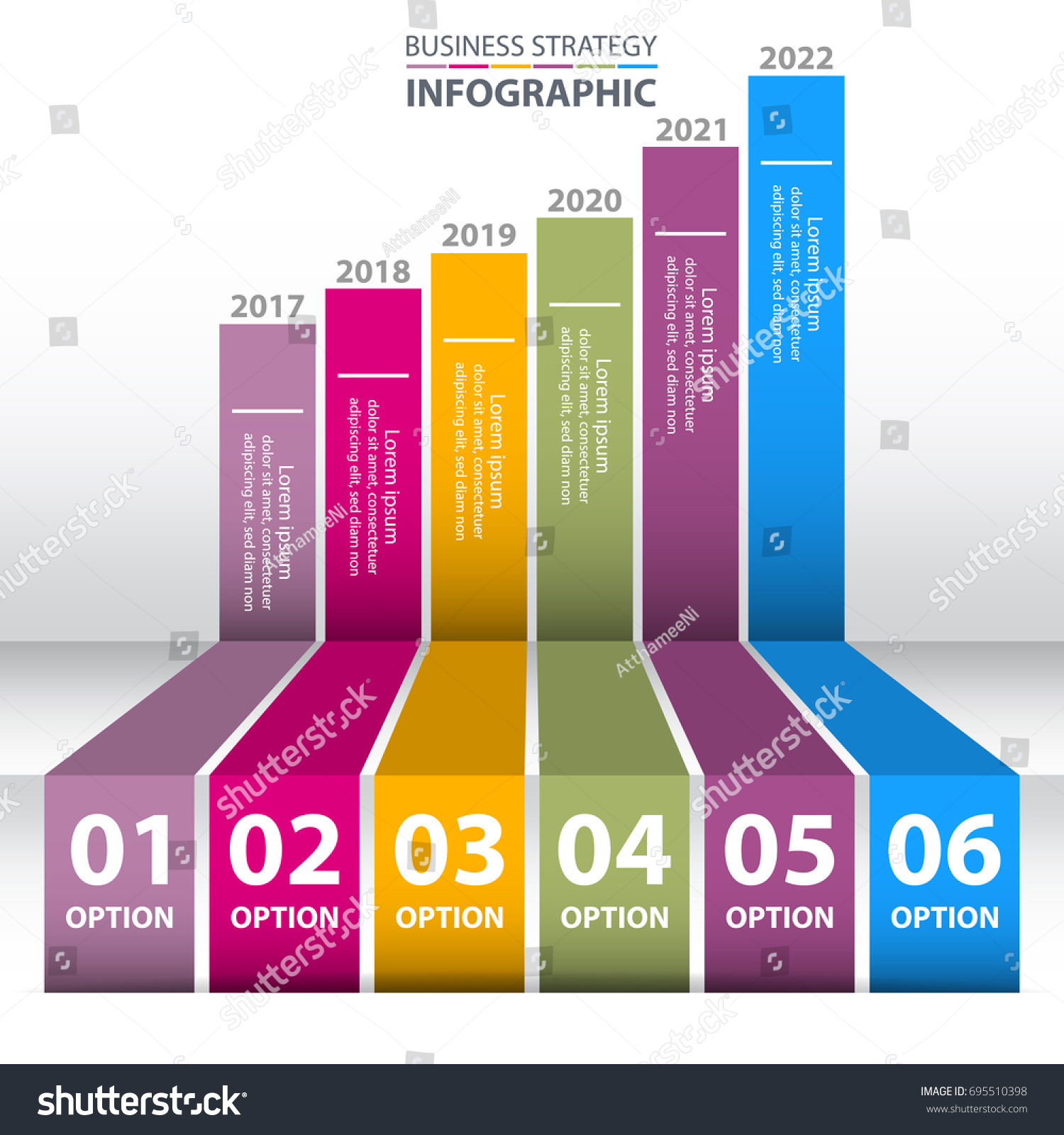business infographics strategy timeline 6 steps stock vector