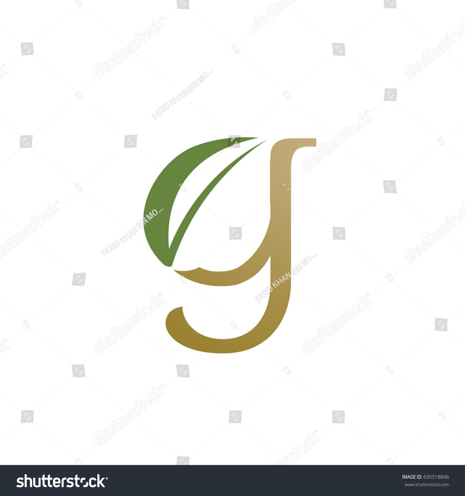 Vector Gold Nature Leaf Single Letter Stock Vector 695518846