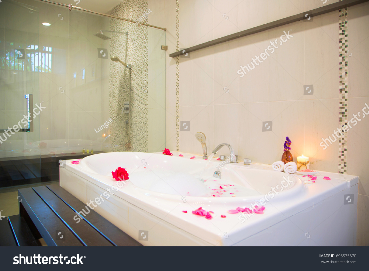 Rose Petals Put Bathtub Romantic Bathroom Stock Photo (Royalty Free ...