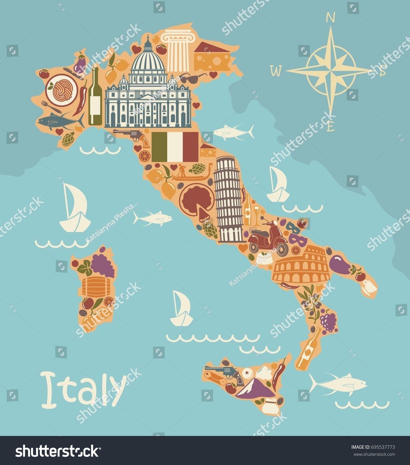Stylized Map Italy Historical Symbols Italian Stock Vector Royalty