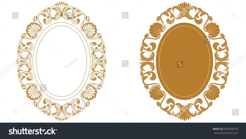 Set Vintage Oval Frame Engraving Retro Stock Vector 695539276
