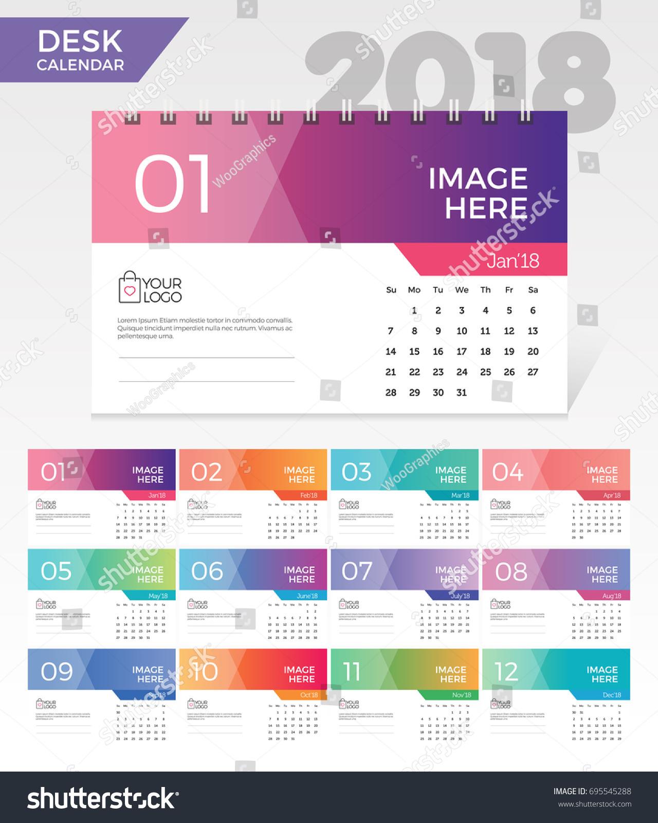 Calendar Design Elegant : Desk calendar simple colorful gradient stock vector