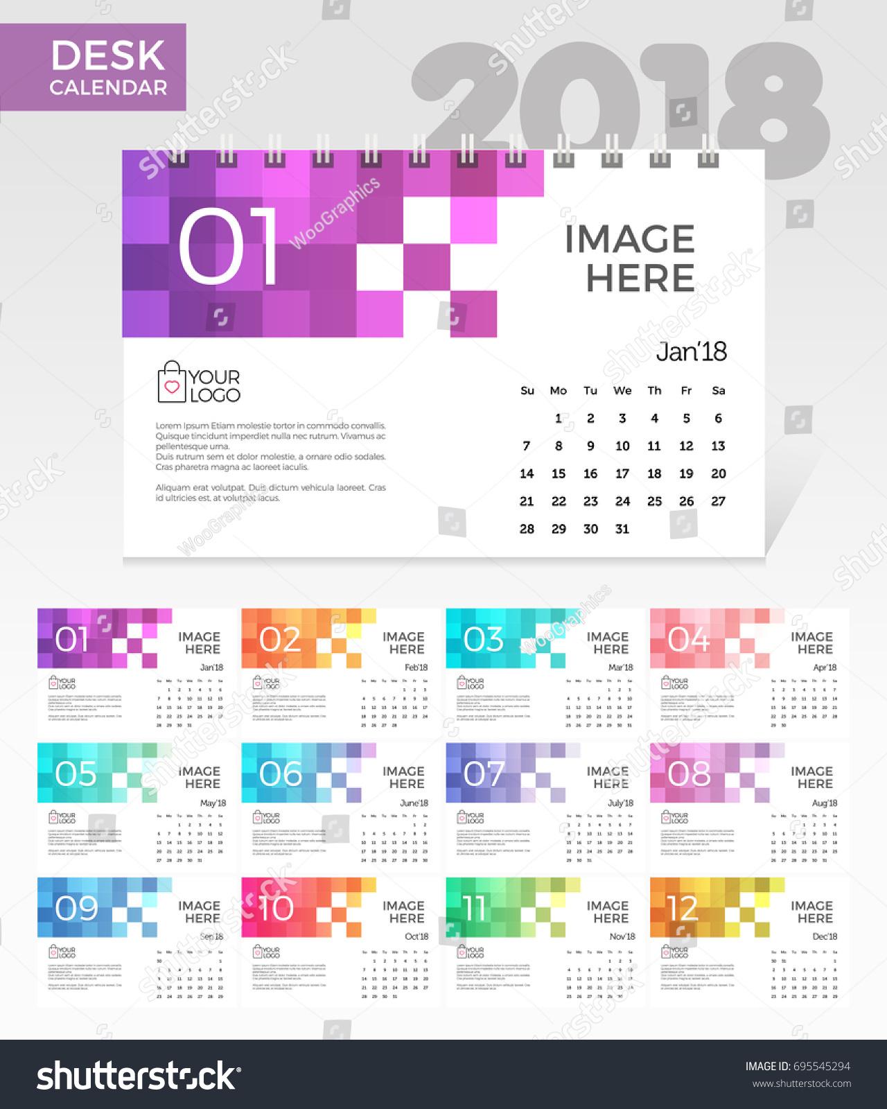 Elegant Desk Calendar Design : Desk calendar simple colorful pixels stock vector