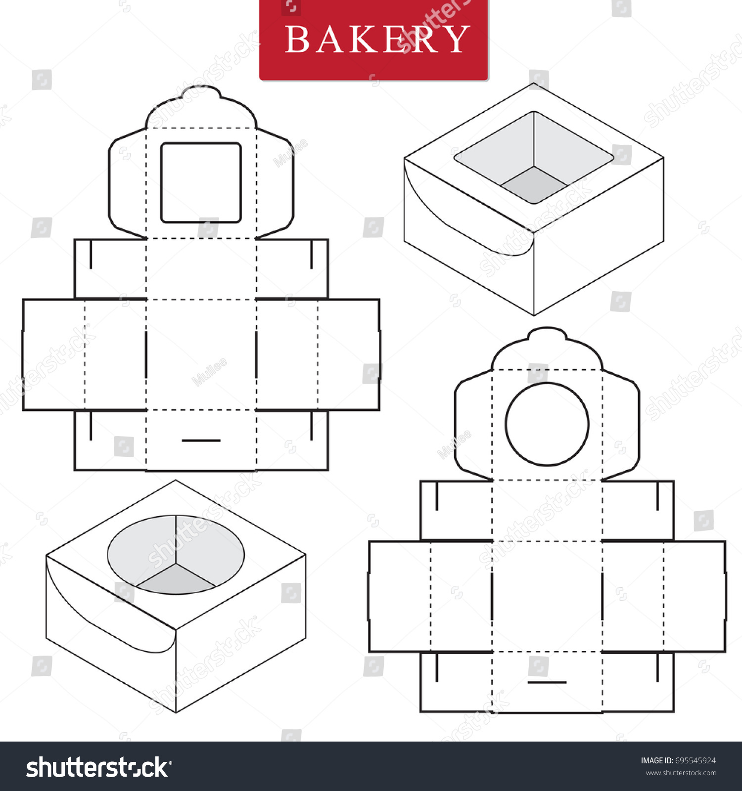 Package Bakery Vector Illustration Box Package Template Isolated ...