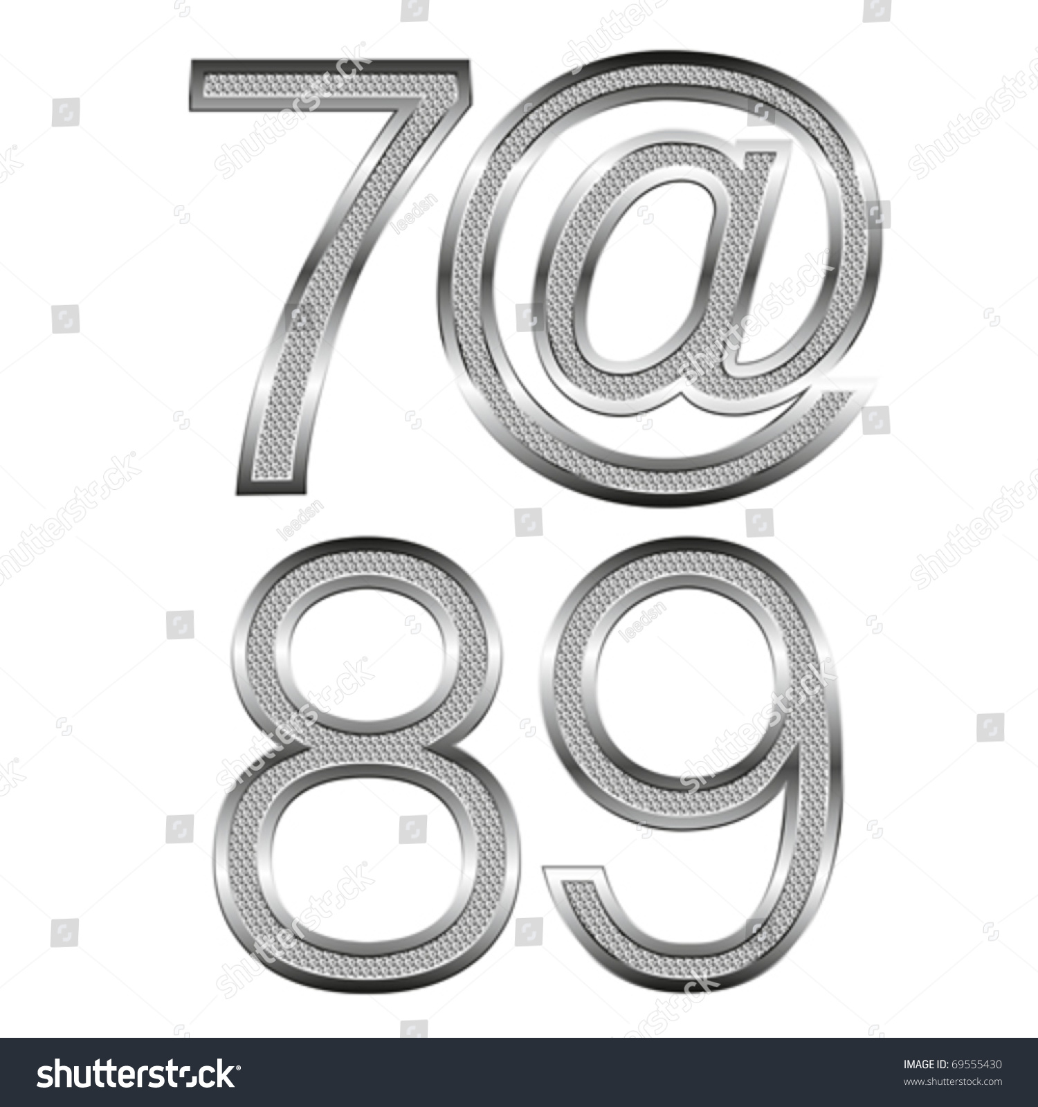 Thin Metal Letters Vector Set Thin Diamond Metal Letters Stock Vector 69555430