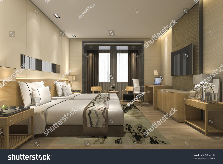 3d rendering luxury modern bedroom suite in hotel and resort - Luxury Modern Bedroom
