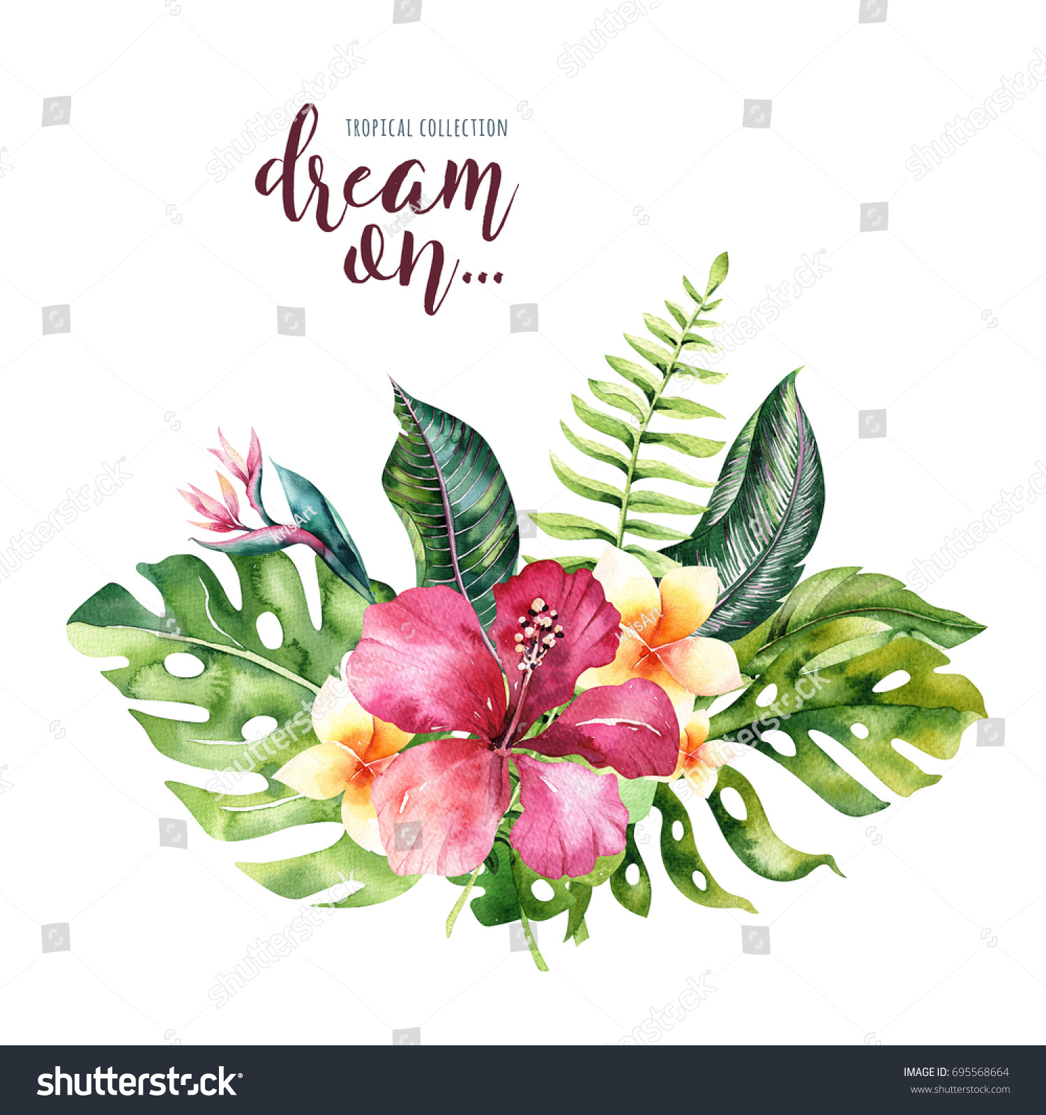 Hand Drawn Watercolor Tropical Flower Bouquets Stock Illustration