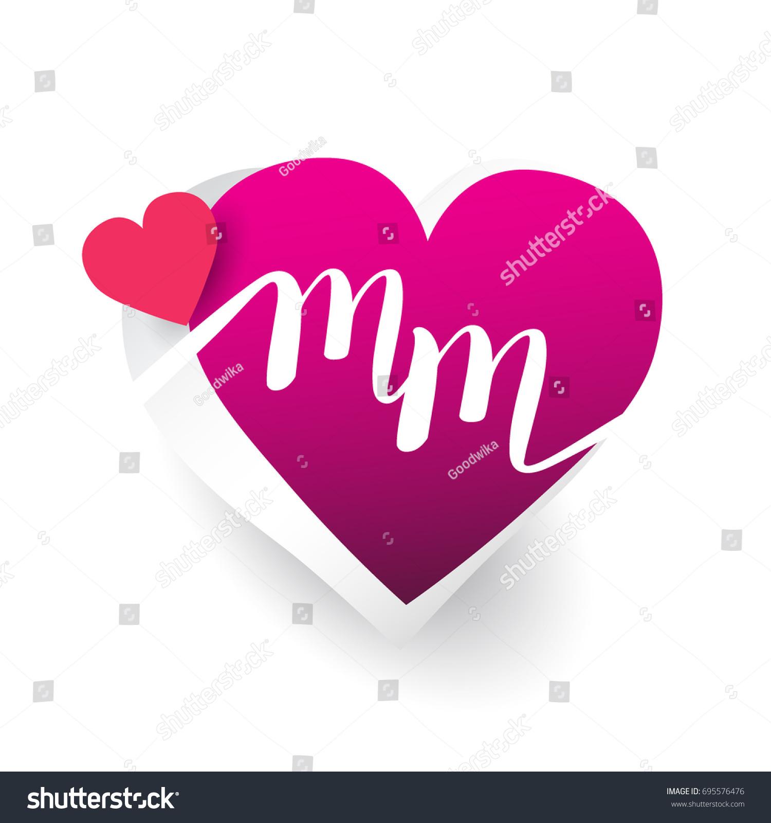 Initial Logo Letter Mm Heart Shape Stock Vector Royalty Free 695576476