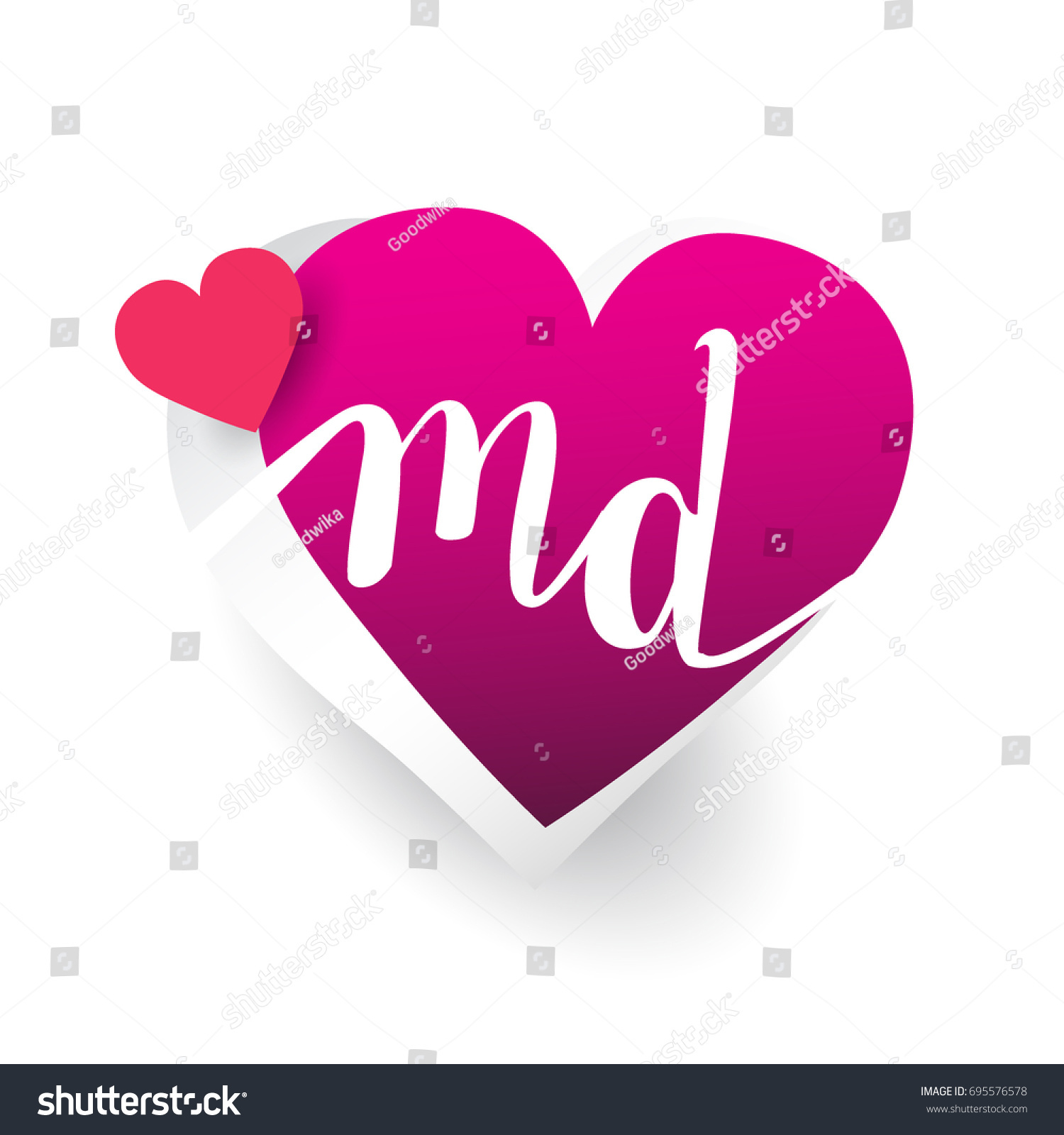 Initial Logo Letter Md Heart Shape Stock Vector Royalty Free