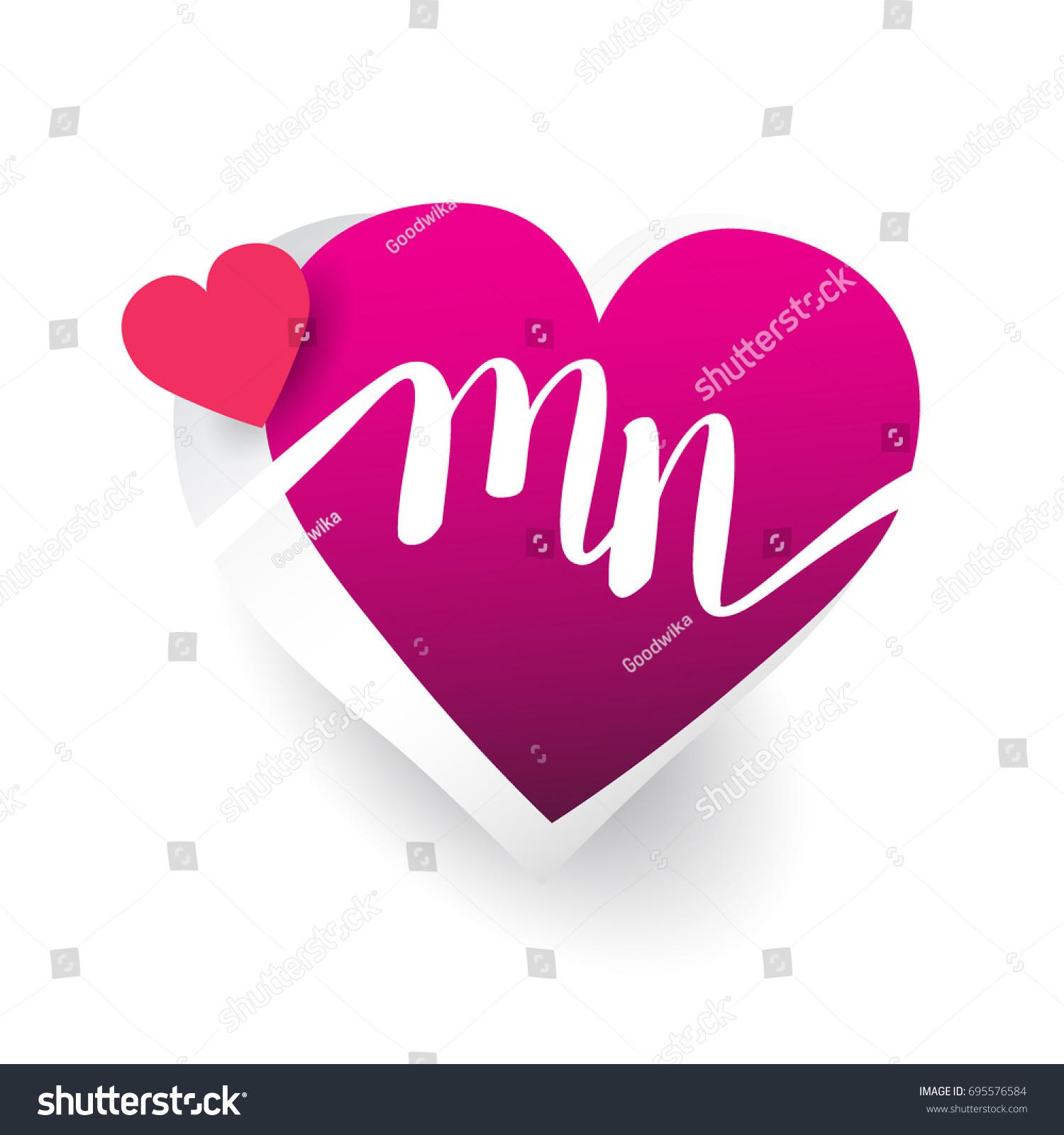 Initial Logo Letter Mn Heart Shape Image Vectorielle De Stock Libre