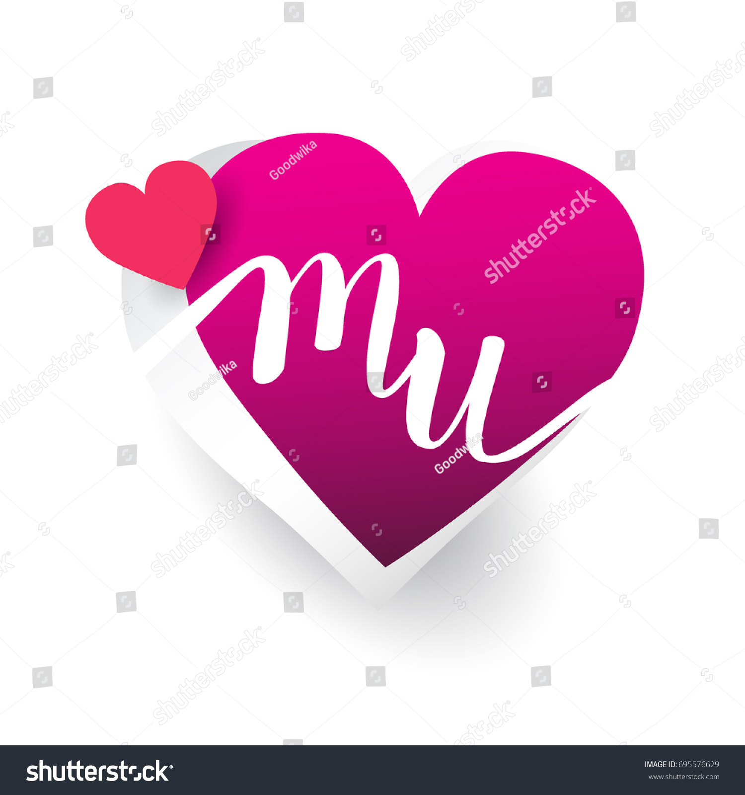 Initial Logo Letter MU Heart Shape Stock Vector (Royalty Free