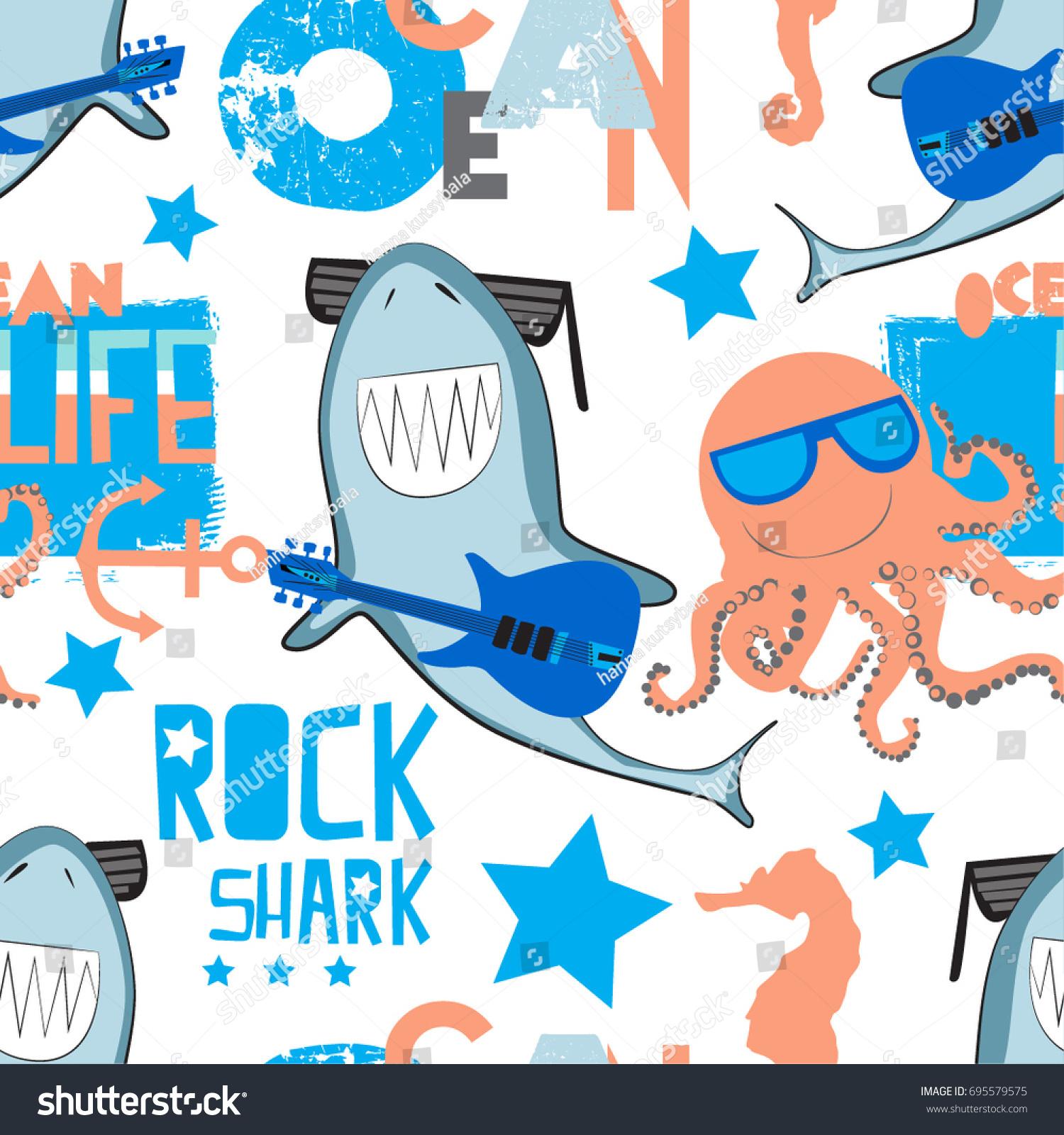 cute pattern rock shark octopus print stock vector 695579575