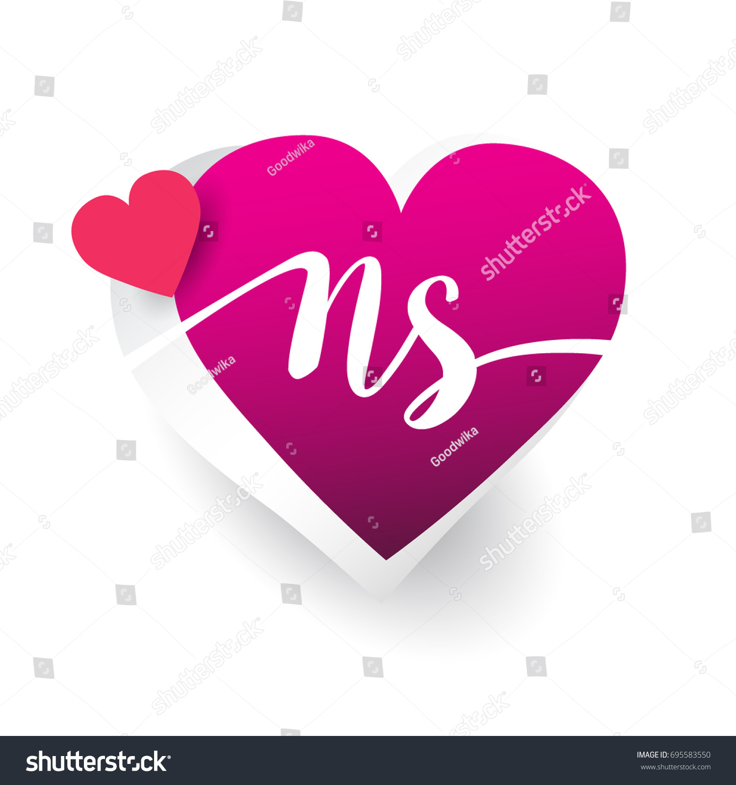 Initial Logo Letter Ns Heart Shape Stock Vector Royalty Free