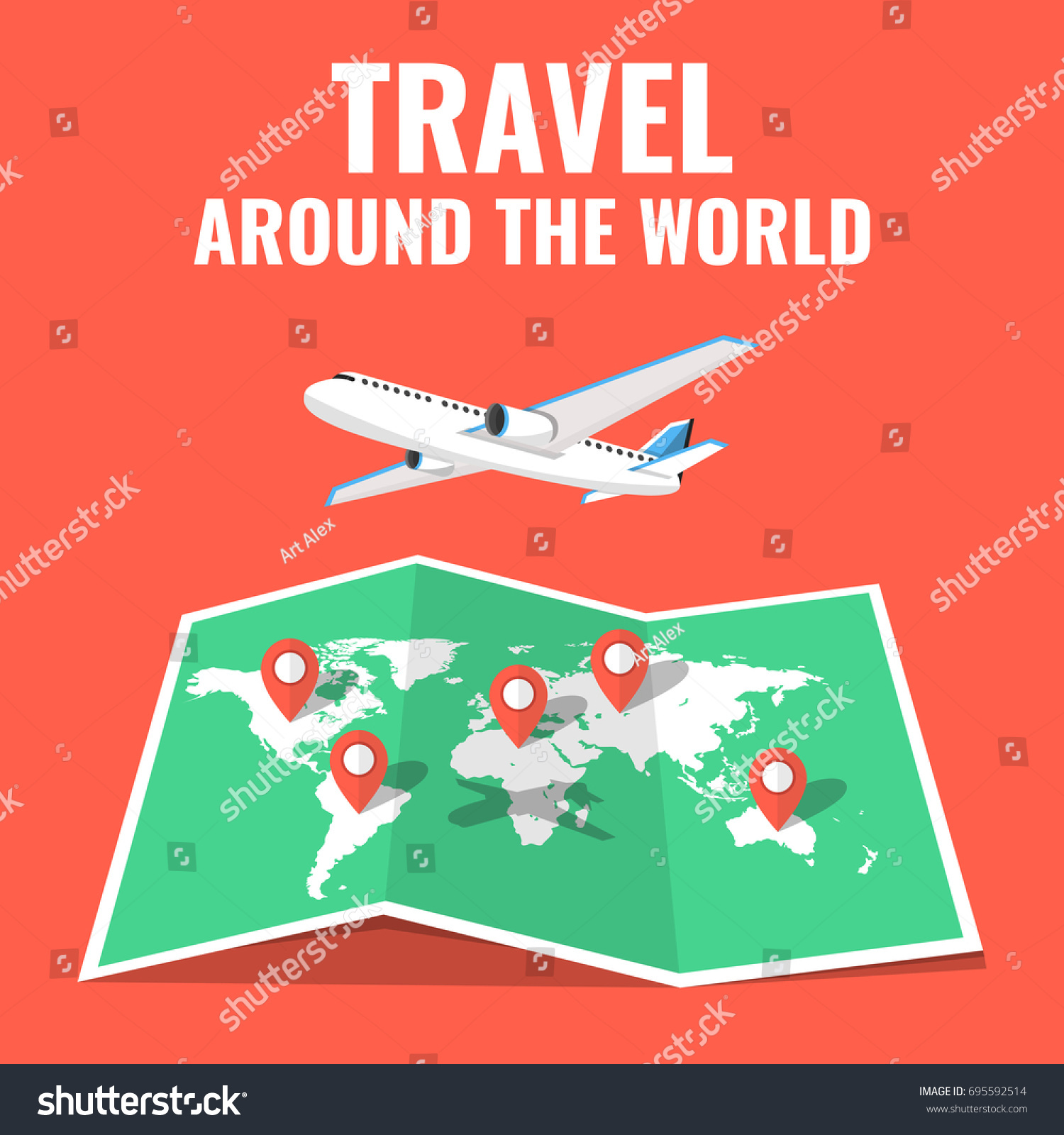 Airplane flying above world map around vector de stock695592514 airplane flying above the world map around the world travelling concept flat cartoon style gumiabroncs Images