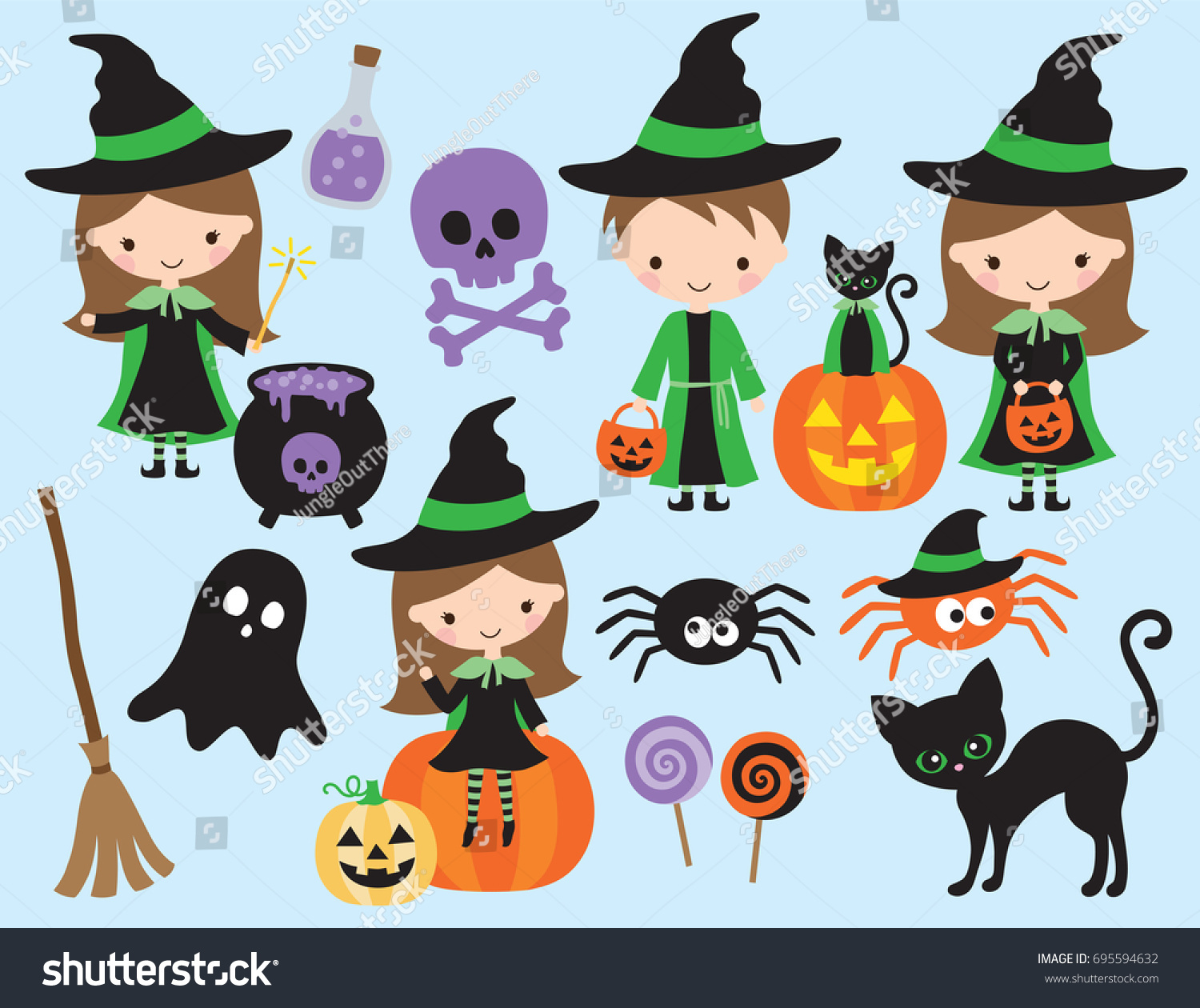 cute halloween vector little witch wizard stock vector (royalty free