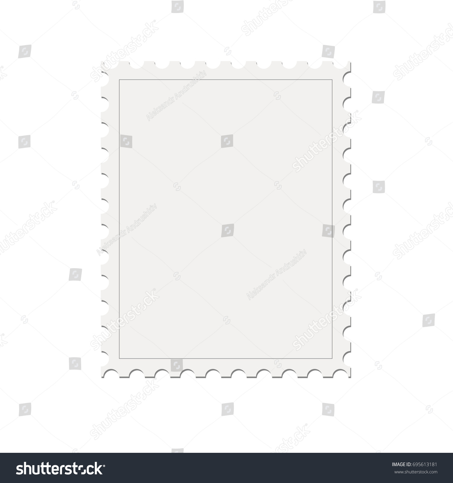 Blank Mock Up Postage Stamp Template Isolated On White Background. Vector  Illustration