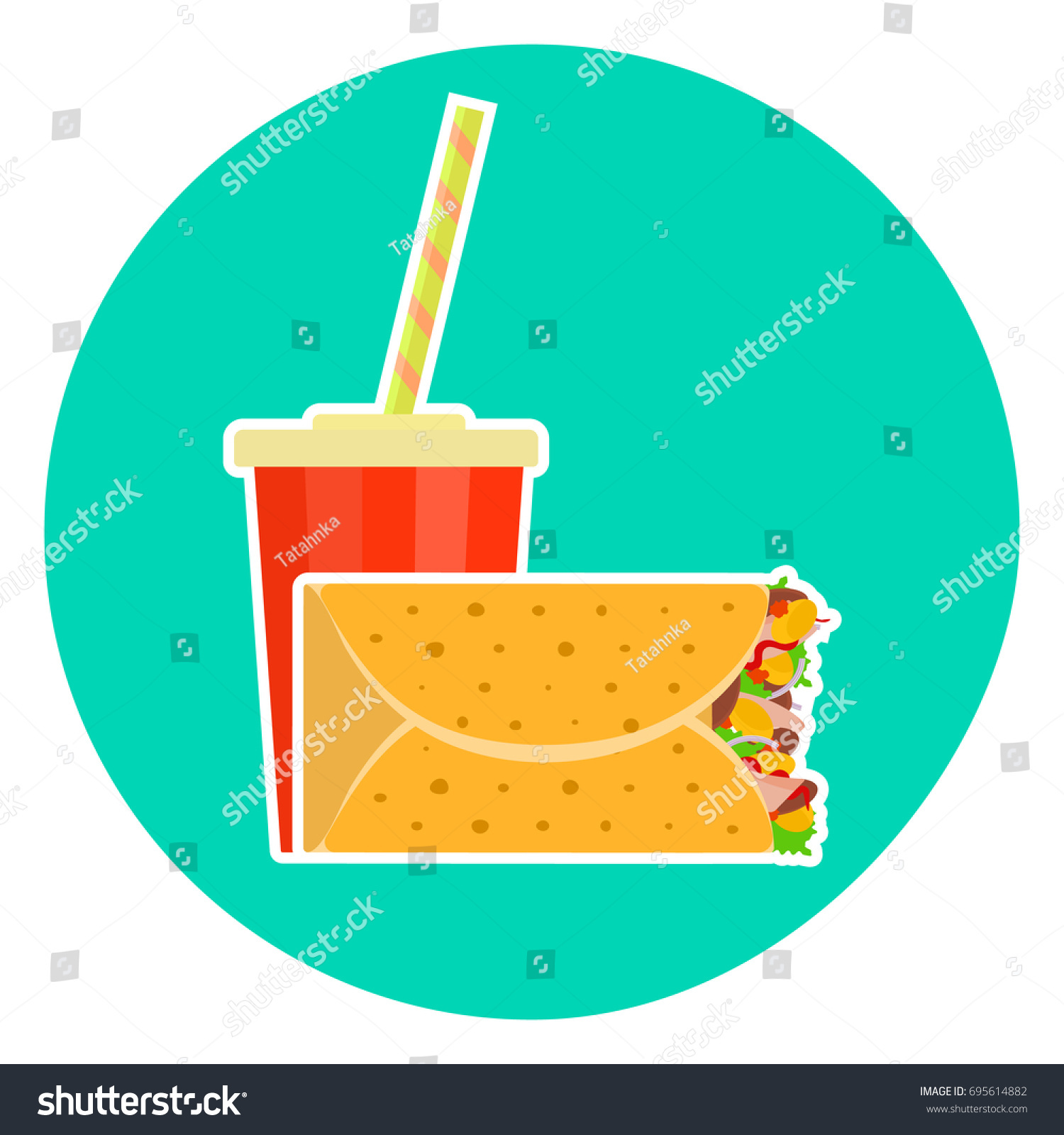 Flat Colorful Vector Lovely Fast Food Stock Vector 695614882