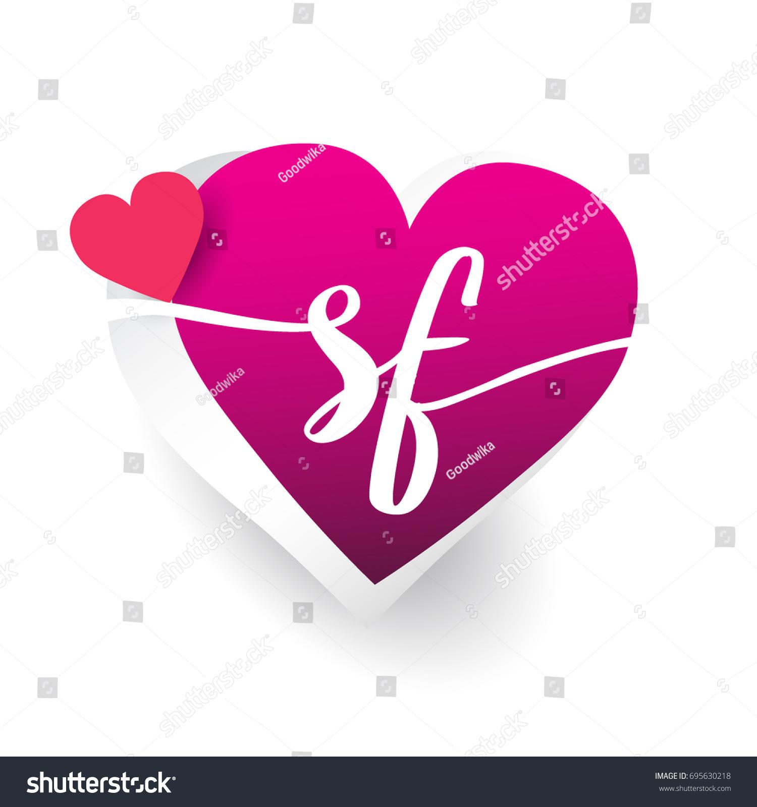 initial logo letter sf heart shape stock vector