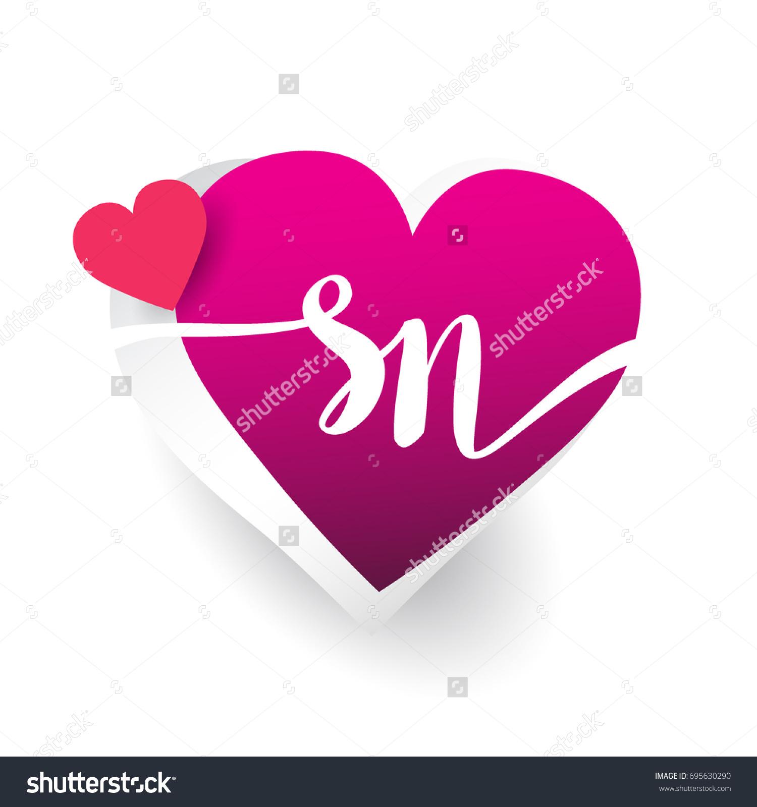 Initial Logo Letter Sn Heart Shape Stock Vector Royalty Free