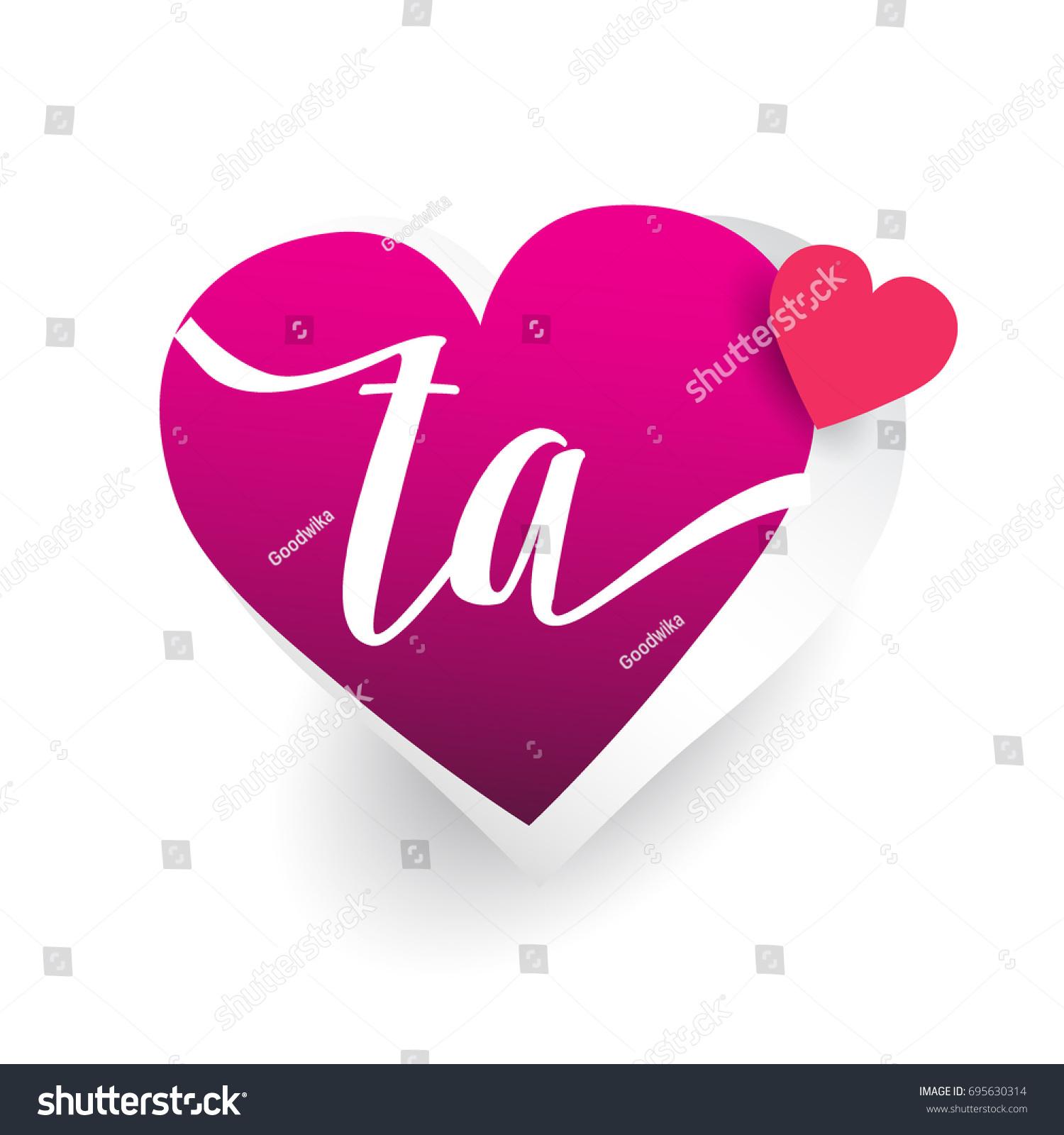Initial Logo Letter Ta Heart Shape Stock Vector Royalty Free