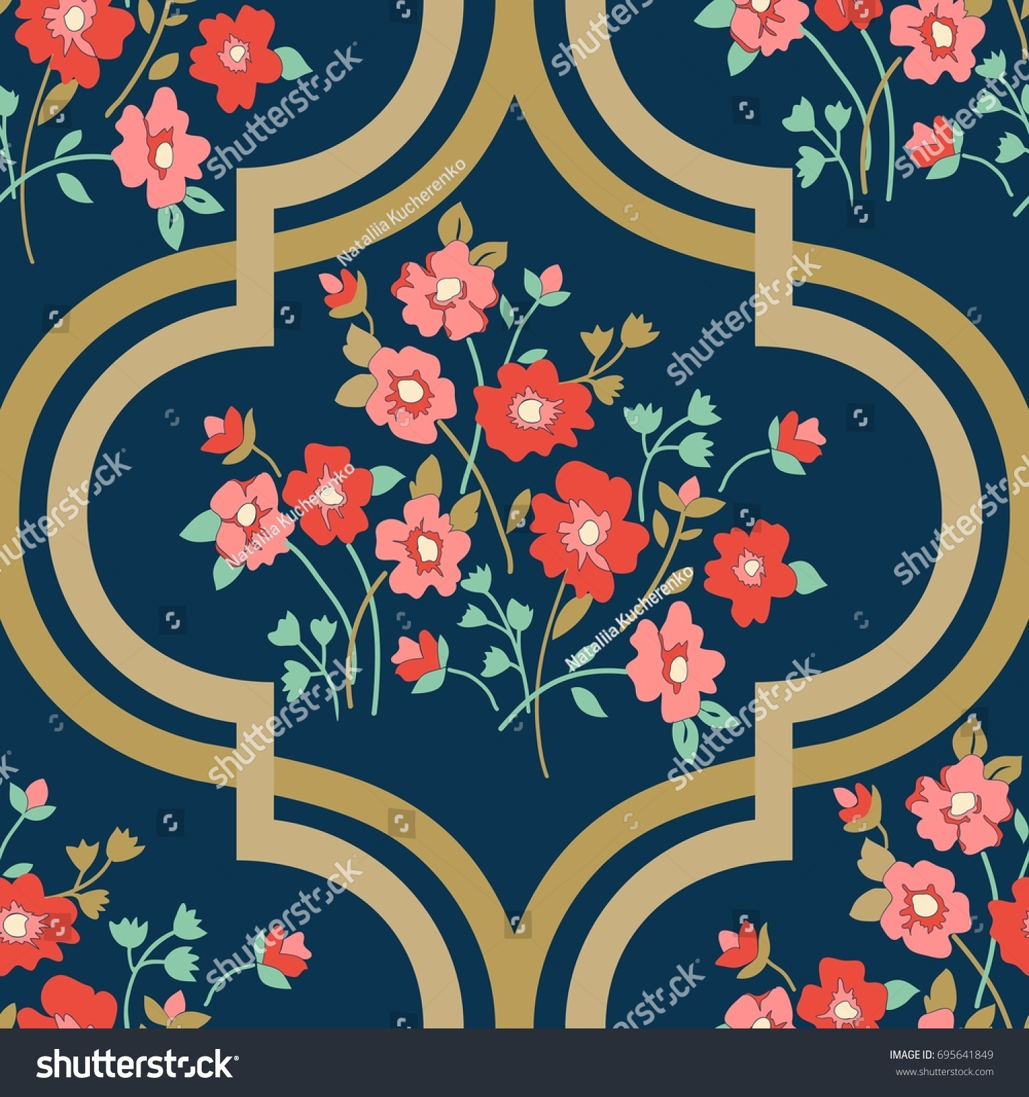 Seamless Vector Vintage Pattern Victorian Bouquet Stock Vector