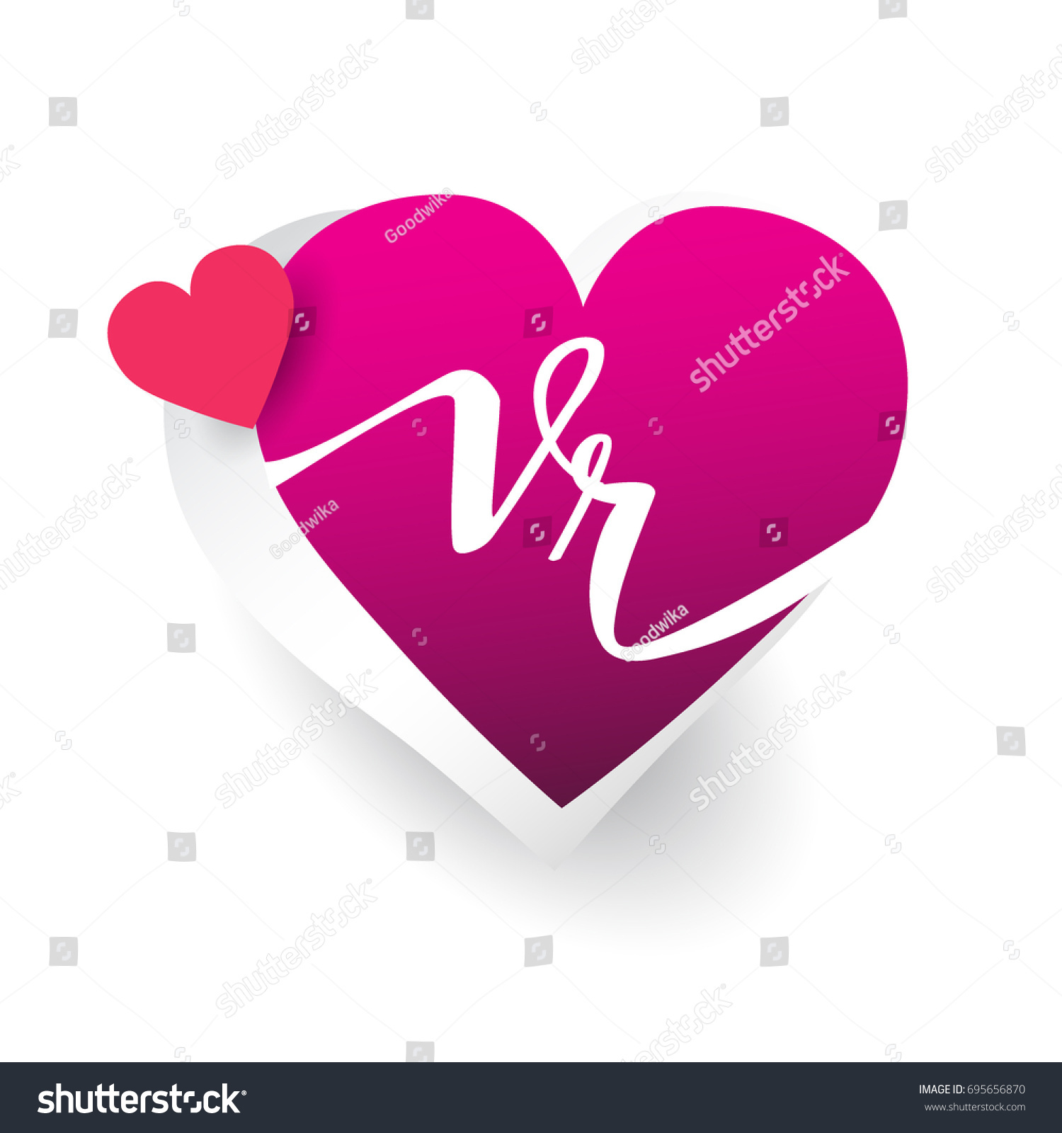 Initial Logo Letter Vr Heart Shape Stock Vector Royalty Free