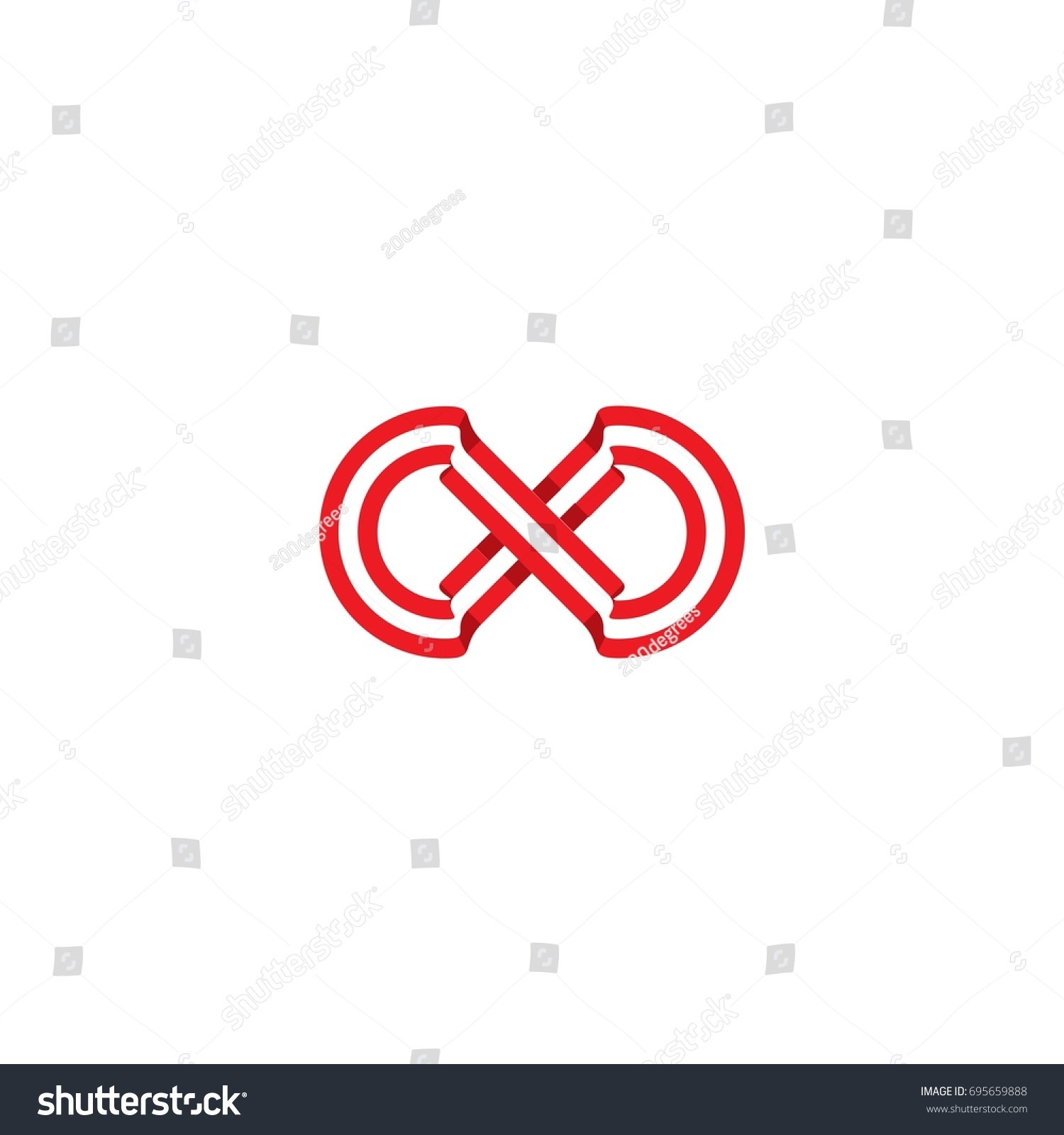 Initial Letter X Logo Infinity Ribbon Stock Vector Royalty Free