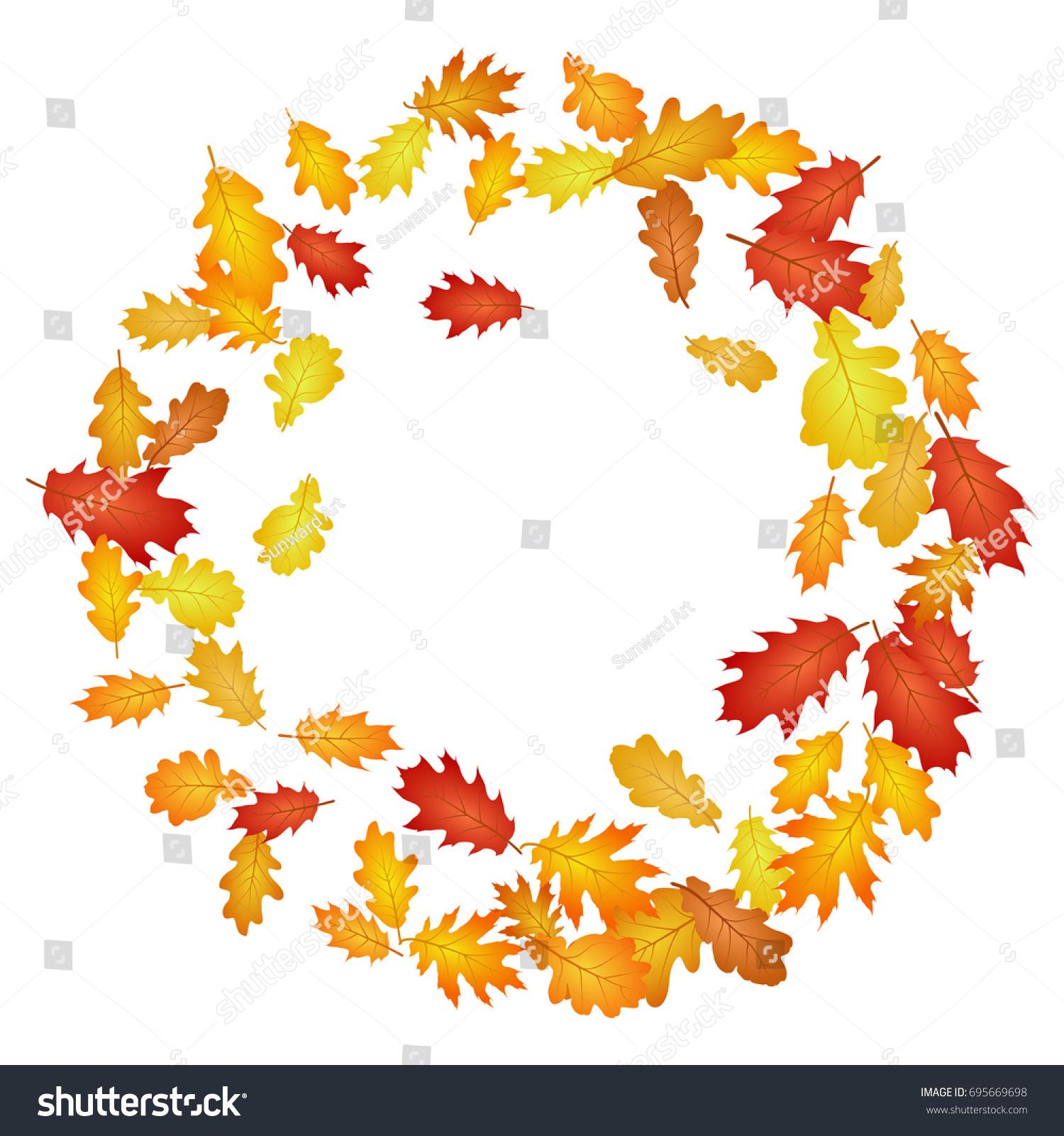 circle wreath frame oak leaf vector stock vector 695669698