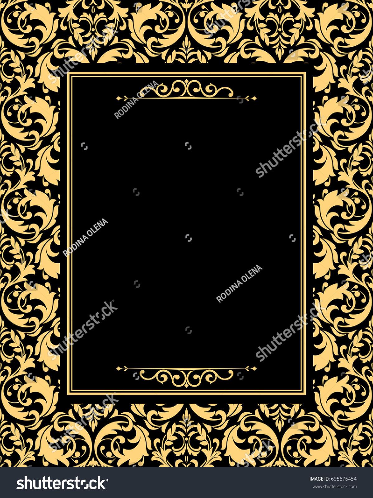 Vintage floral design graphic frame damask stock vector 695676454 vintage floral design graphic frame damask vector pattern gold and black pattern jeuxipadfo Image collections