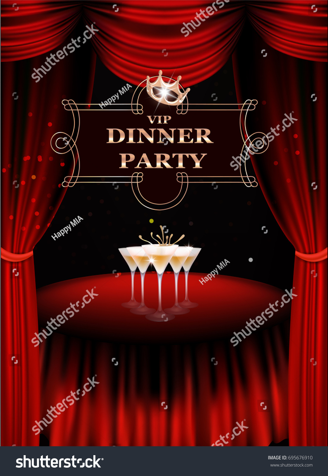VIP Dinner Party Invitation Card Table Stock Vector (Royalty Free ...