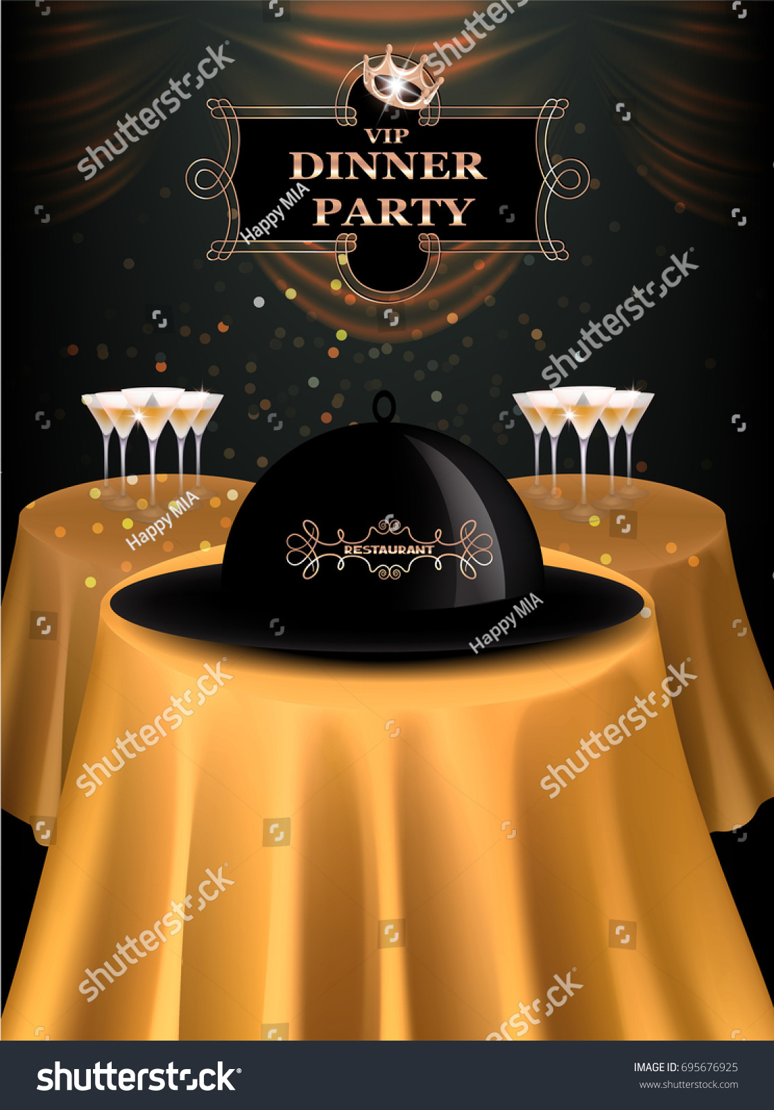 Vip Dinner Party Invitation Card Gold Stock Vector Royalty