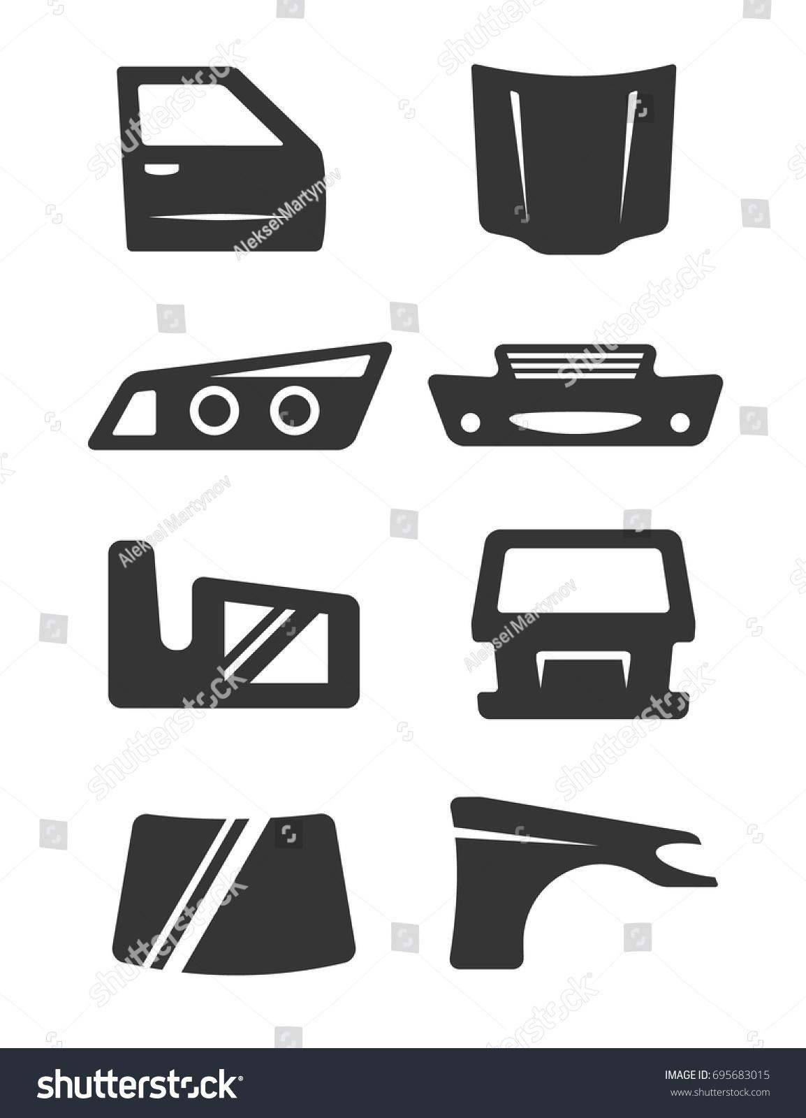 Set Eight Grey Icons Car Body Stock Vector 695683015 - Shutterstock