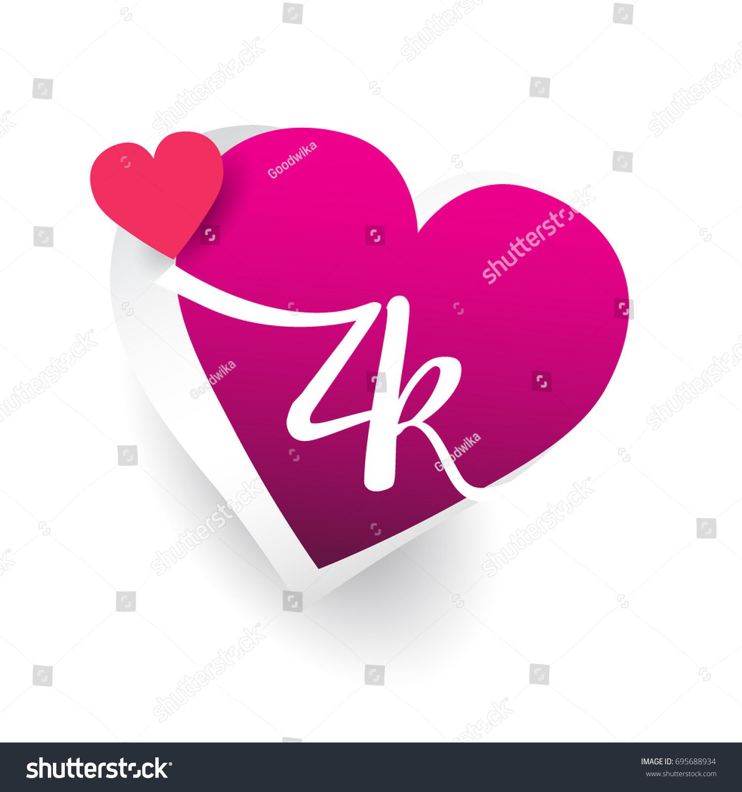 Initial Logo Letter Zk Heart Shape Stock Vector Royalty Free