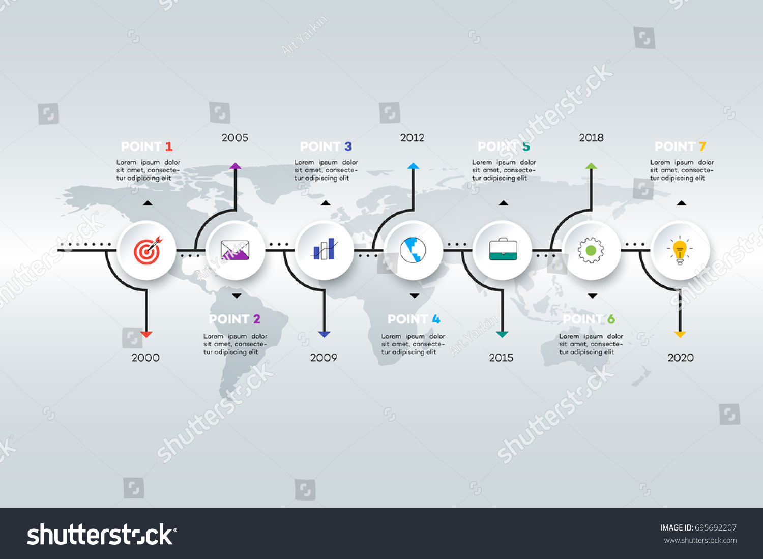 Layered Horizontal Infographic Timeline Vector Template