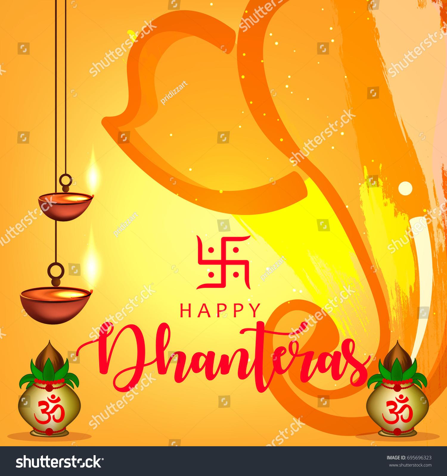 Happy Dhanteras Wallpaper Design Vector Illustration Stock Vector