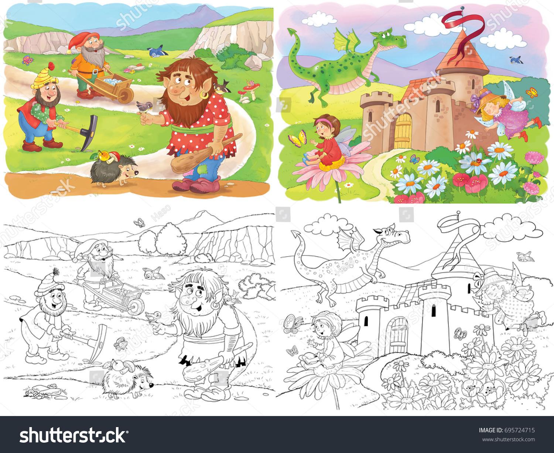 Cute Troll Dwarfs Dragon Fairies Fairy Stock Illustration 695724715 ...