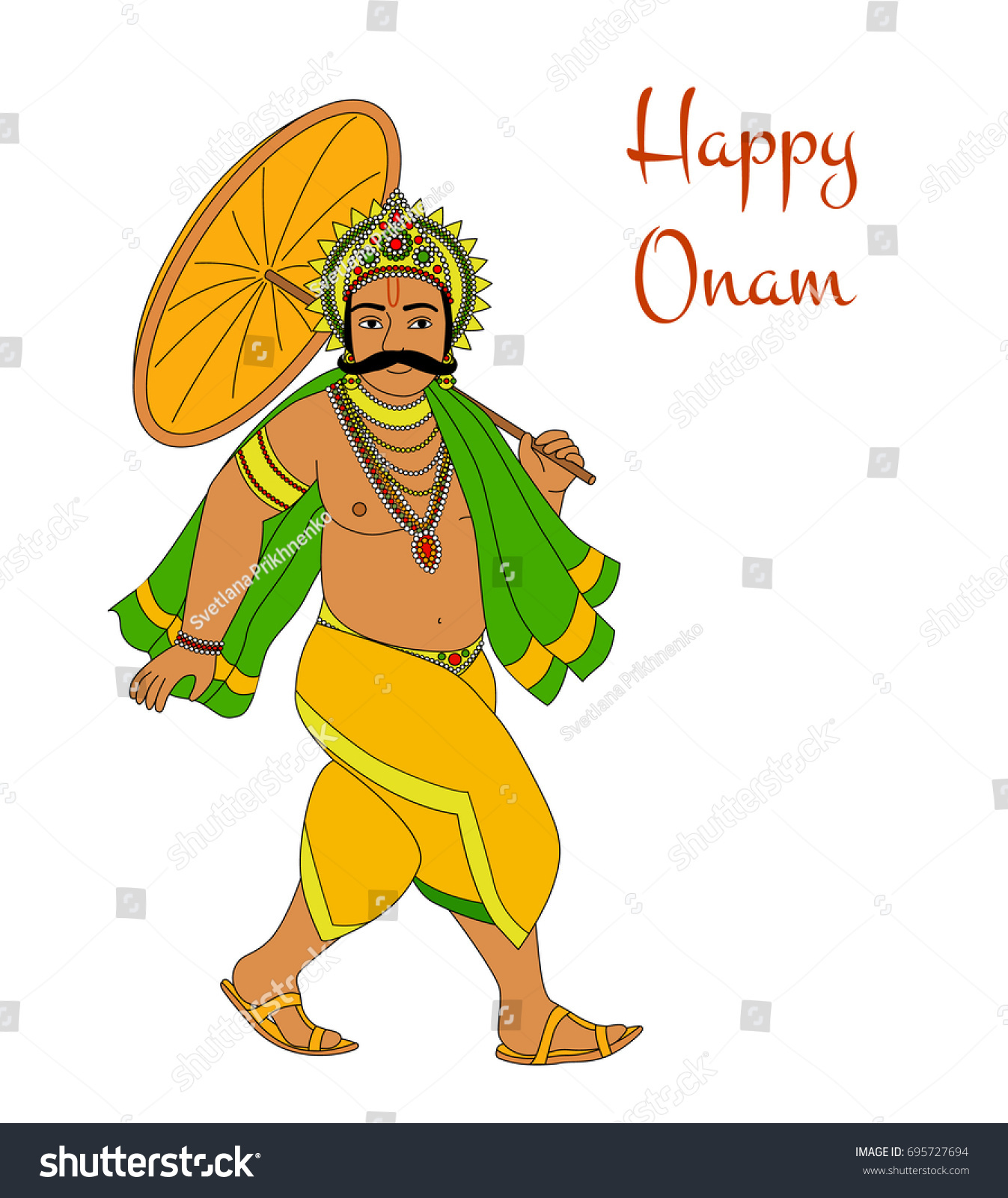 Happy Onam King Mahabali Greeting Card For South Indian Festival