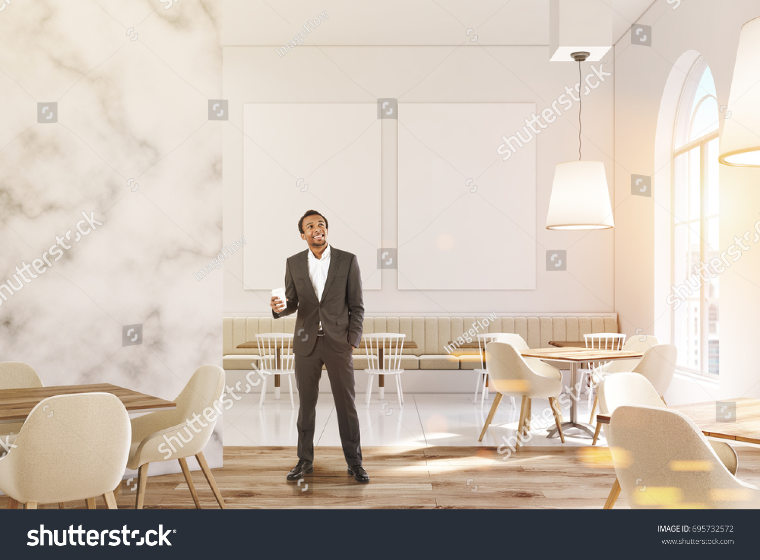 marble cafe interior with white walls large windows beige sofas and chairs and square - Large Cafe Interior