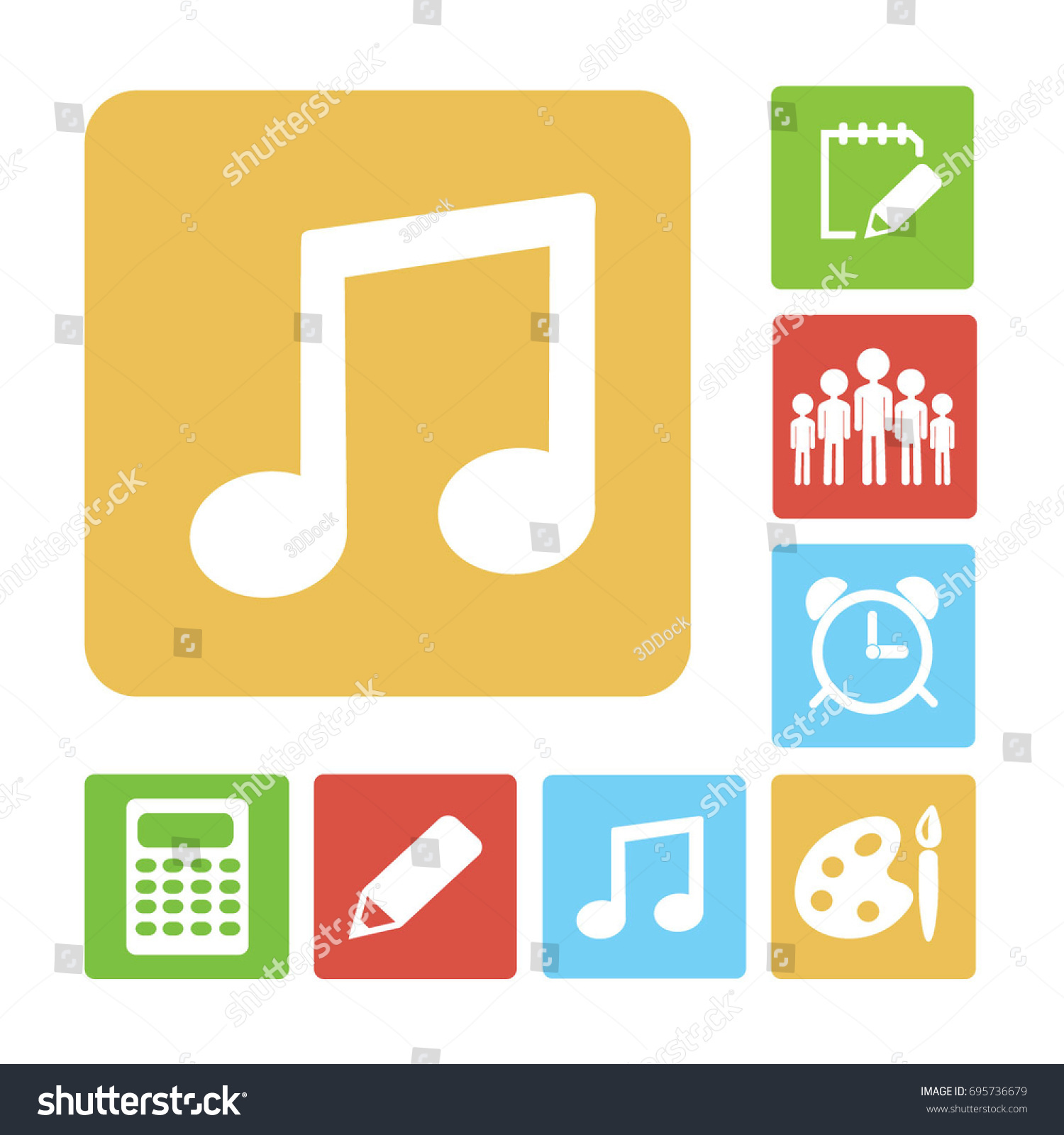 Musical Note Icon Flat Vector Illustration Stock Vector 695736679 ...