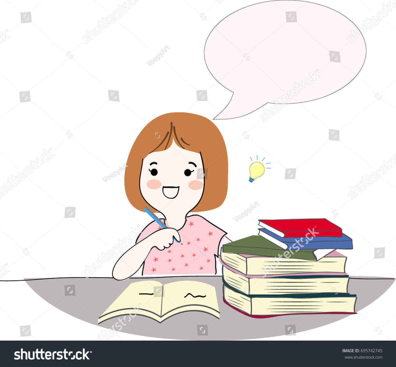 happy kids girlwoman talkingreadingthinking books smile satisfied