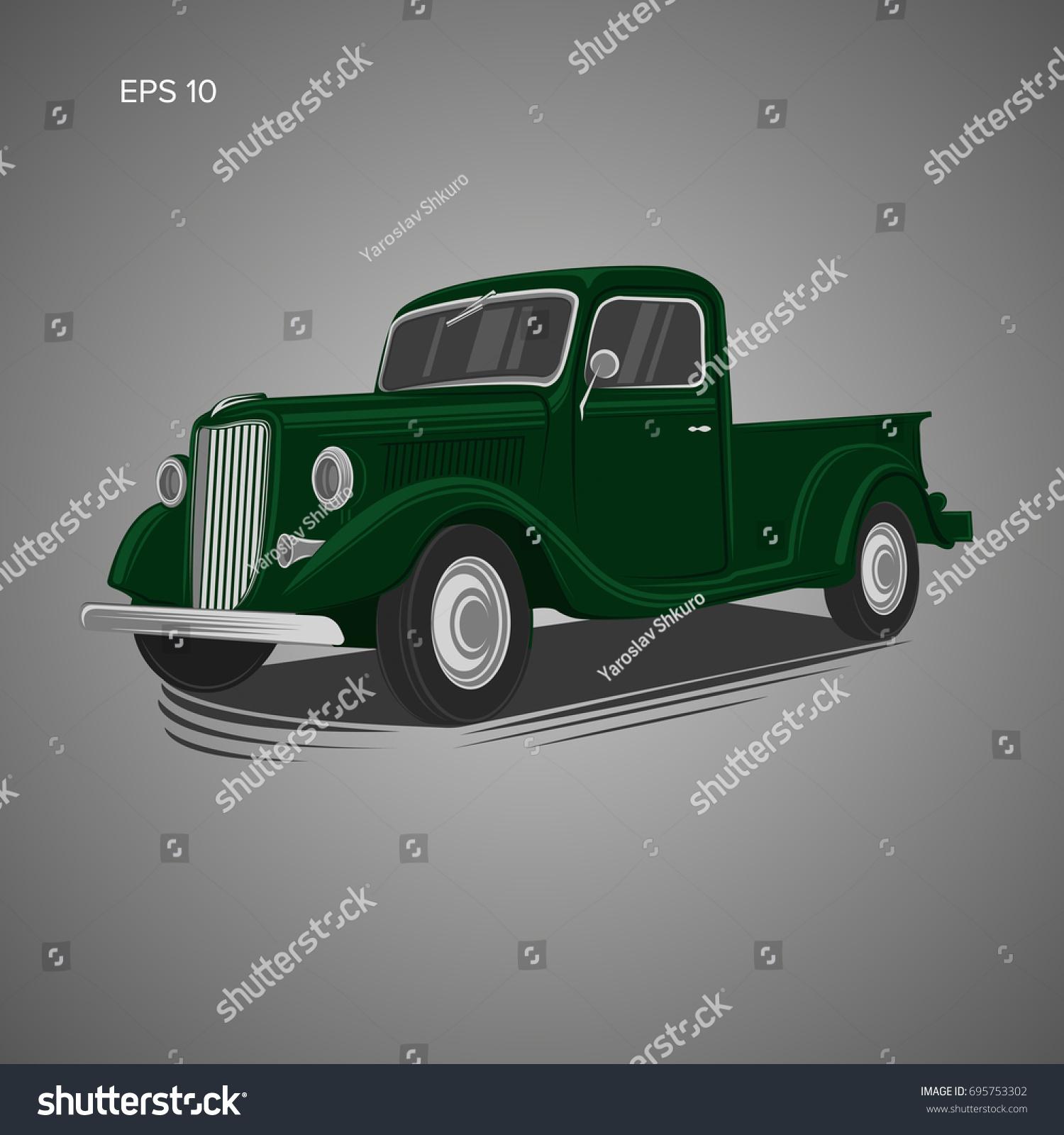 Old Retro Pickup Truck Vector Illustration Stock Vector 695753302 ...