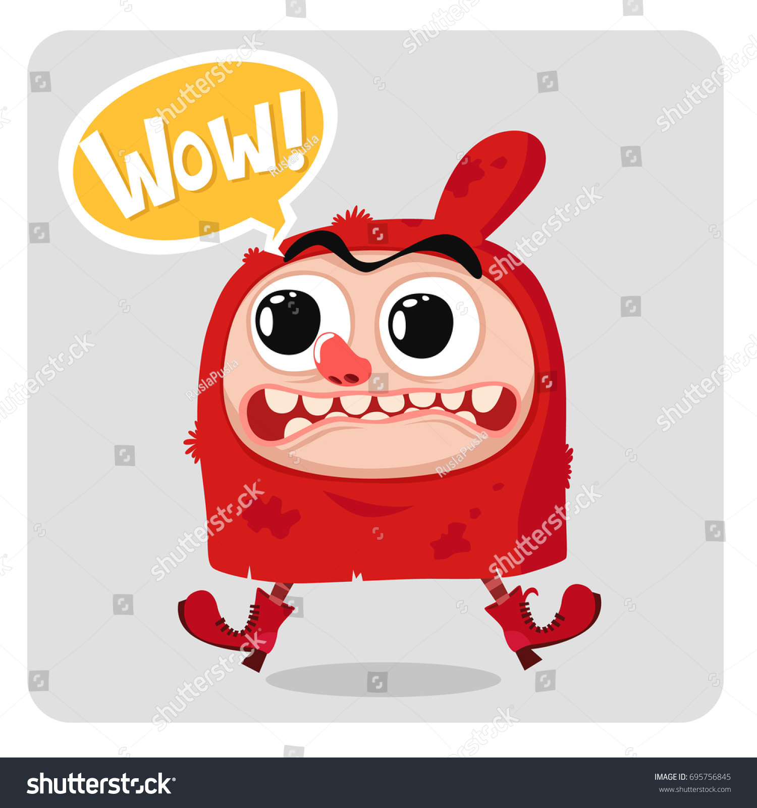 Cartoon Funny Gnome In Red Hood Wow Vector Illustration