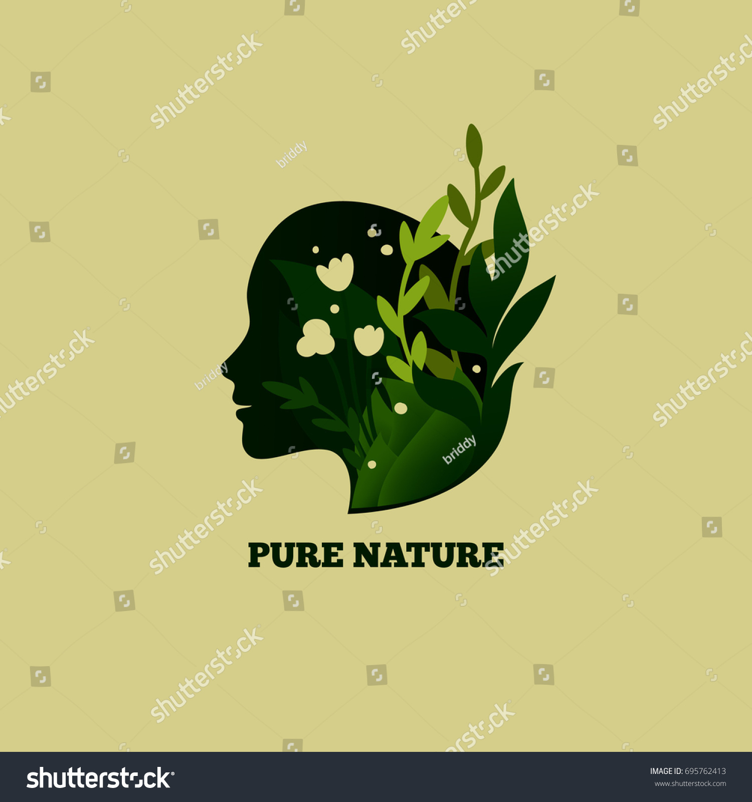 Beautiful Female Profile Flowers Leaves Pure Stock Vector Royalty
